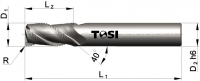 Фреза концевая с радиусом при вершине угла  из твердого сплава черновая для обработки алюминия MN055.***R