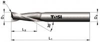 Фреза концевая c радиусом при вершине угла  из быстрорежущей стали для обработки алюминия SN004.***R