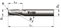 Фреза концевая с радиусом при вершине угла  из твердого сплава черновая для обработки алюминия MN054.***R