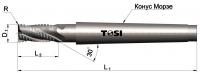 Фреза концевая с радиусом при вершине угла  из быстрорежущей стали черновая SN036.***R