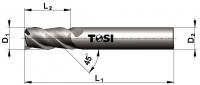 Фреза концевая с радиусом при вершине угла из быстрорежущей стали SN009.***R