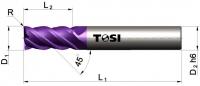 Фреза концевая с радиусом при вершине угла  из твердого сплава МN058.***R
